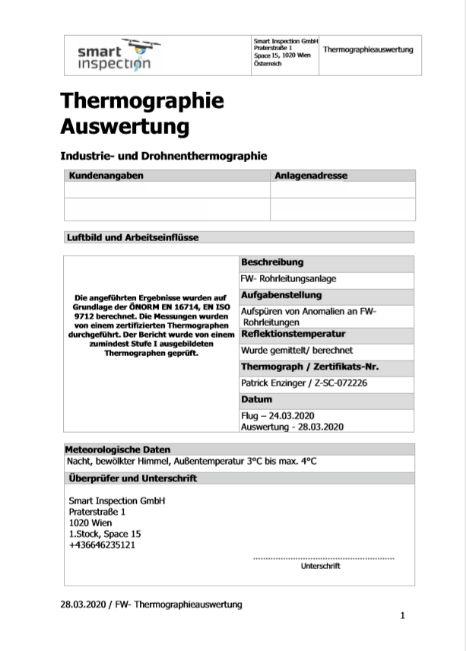 Thermographische Auswertung Report