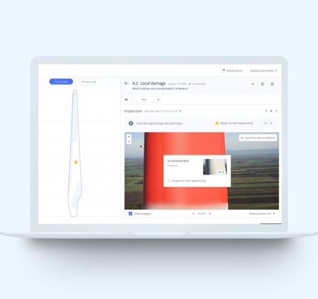 Screenshot Dashboard Windkraftinspektion
